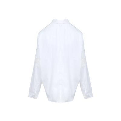 lace detail stripe shirt white2